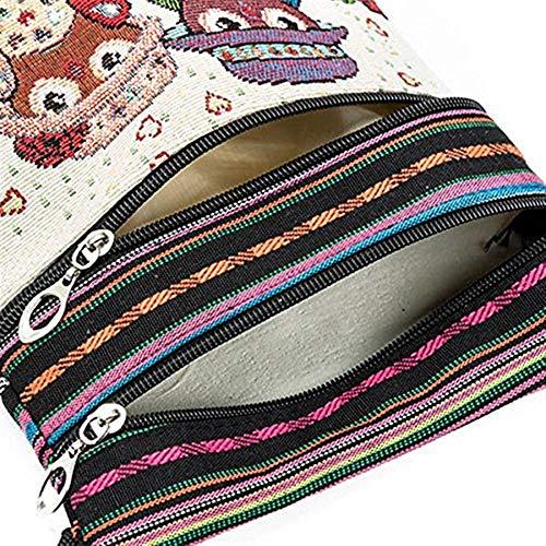 La Tamaño Étnico Hippie Bordado De Bohemio 550a color Patrón Lona Estilo Búho Crossbody 550a Moontang Bolso Del Tailandés wqXfUB