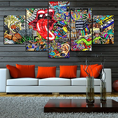 (TUMOVO Graffiti Paintings Canvas Colorful Wall Art Living Room Wall Decor 5 Panel Pictures Music Collage on Brick Wall Home Decor Modern Artwork Posters and Prints Framed Ready to Hang(60''Wx32''H))