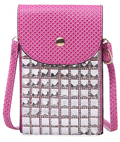 Cristal Femmes Rose BHBS 11x17 Bandoulière Bourse Téléphone cm Pochette LxH Place Messager Cellulaire pOw5nfxqwS