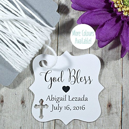 White Baptism Tags - Small Personalized Favor Tags for Christening - God Bless (Set of 20)