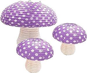 3Pcs Purple Large Mushroom Shaped Paper Lanterns for Forest Jungle Wonderland Themed Birthday Party Decor Hanging 3D Mushroom Ornament Backdrop for Fairy Baby Shower Nursery Garden Wedding Decorations