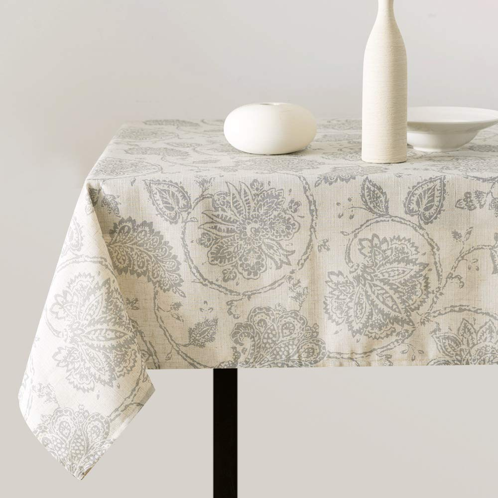 """Linen Textured Table Cloth for Kitchen Medallion Design Rustic Jacobean Floral Printed Table Cover (1 Panel 51"""" W x 54"""" L Grey)"""