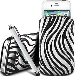 N4U Online - Apple Iphone 5S protección PU Zebra Diseño deslizamiento cordón tirador de la cremallera en la caja de la bolsa con cierre rápido y grande Stylus Pen - Blanco