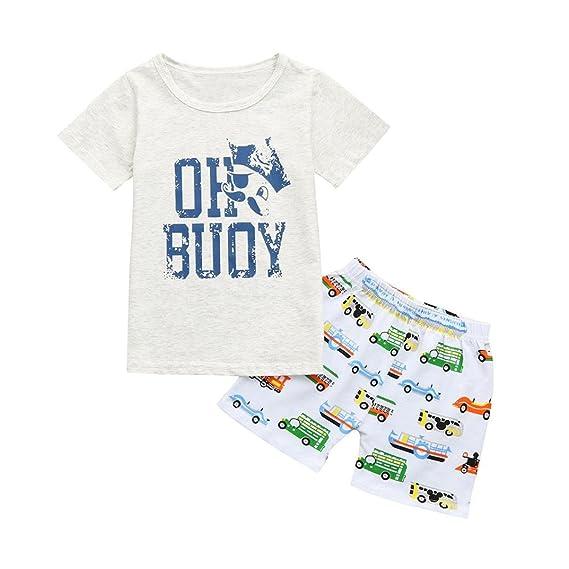 PAOLIAN Conjuntos de ropa para recién nacidos bebé niños Verano Camisetas + Pantalones cortos Impresion de