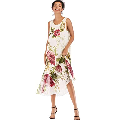 1aa928c0ac Women's Summer Dresses Boho Floral Print Beach Style Casual Chiffon Swing  Dress at Amazon Women's Clothing store: