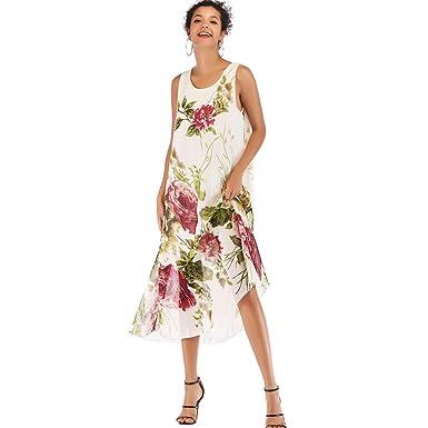 26811c2f08e4 Women s Summer Dresses Boho Floral Print Beach Style Casual Chiffon Swing Dress  at Amazon Women s Clothing store
