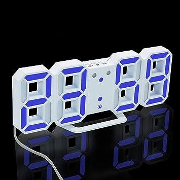 Kuandar Reloj de Pared Digital 3DLED Reloj de Pared electrónico(Blanco): Amazon.es: Hogar