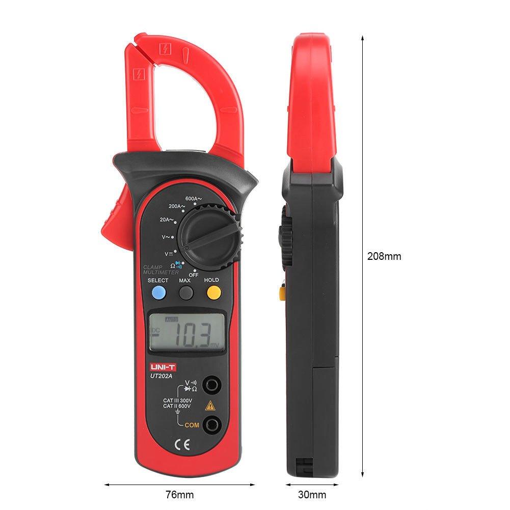 Signstek Uni-t UT202A Auto/Manual Range Digital Handheld Clamp Meter Multimeter Test Tool Digital Handheld Clamp Ohm Tester, AC/DC Voltmeter, AC Current by Signstek (Image #7)