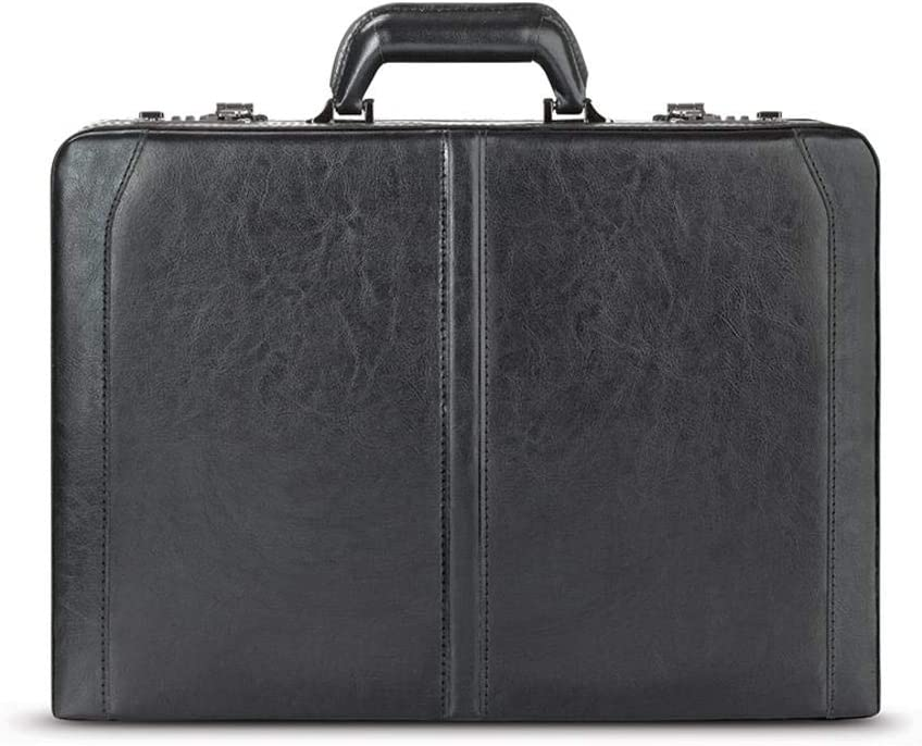 Solo New York Broadway Premium Leather Attaché Briefcase with Combination Locks, Black, 18 x 13 x 4 Inch
