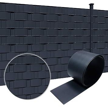 HENGMEI 19cm x 2.5m Brise vue PVC 10 pièce Rouleau de Brise-vue Paravent  Couverture Protection vent/soleil comprend des clips de montage, Anthracite