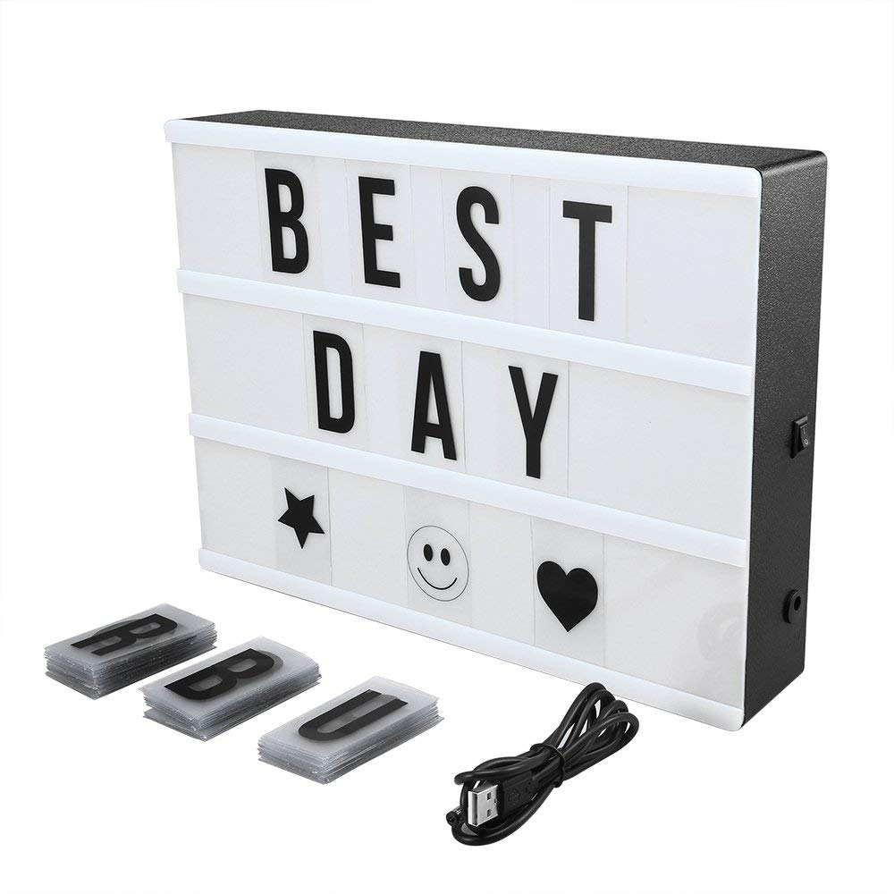 Cinema Light Box Super Perfect DIY LED Cinematic Light Up Box with Decorative 90 Letters Numbers Symbols for Festival/Birthday/Anniversary/Wedding/Mottoes [A4 Size, White] by AGM