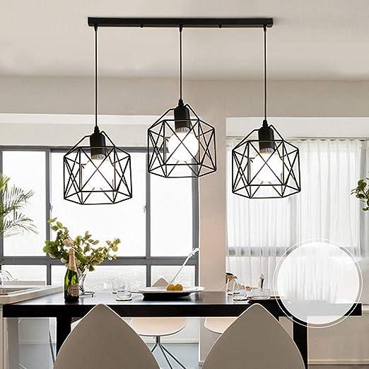 Giow Lámpara Colgante 3 * E27 Rectángulo Luz de Comedor Lámparas Colgantes industriales Vintage Jaula de Metal Negro Altura Ajustable Luces de suspensión para Mesa de Comedor Mostrador de Cocina: Amazon.es: Hogar