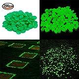 "KLEMOO Glow in the Dark Pebbles 200 PCS, Artificial Decorative Stones for Walkways and Aquarium in Green, Create Glowing ""Starry Night"" Garden"