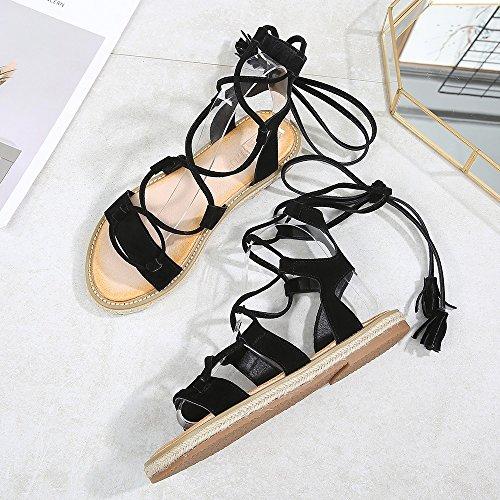 Shoes Ankle Black Summer Side Strap Roman Espadrilles Style 03 Sandals Women Gladiator Wollanlily Flats SqTBBP