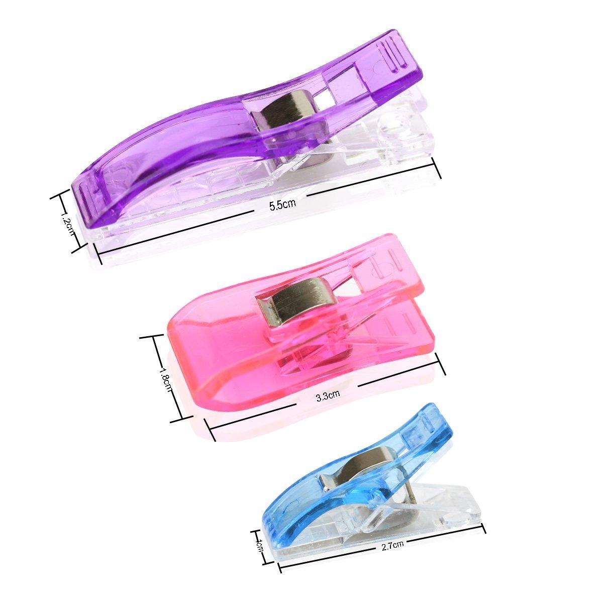 Ndier 102 Stück Klammer Nähen Zubehöre Nähzubehör Stoffklammern für Nähen, Quilting Clips, Häkeln,Quilting Kunststoff Clips, Häkeln, StoffClips Büroklammern - Random Color -90 klein, 7 mittel, 5 groß