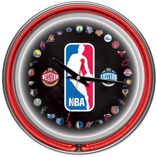 Trademark Gameroom NBA Chrome Double Ring Neon Clock, 14'' by Trademark Gameroom