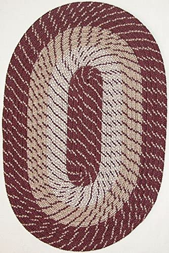 Plymouth 6 ROUND Braided Rug in Burgundy