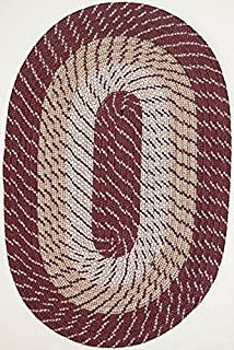 "product image for Plymouth 8'6"" x 11'3"" (102"" x 135"") Oval Braided Rug in Burgundy Made in New England"
