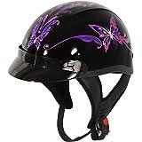 Outlaw T-70 Purple Butterfly Glossy Motorcycle Half Helmet - Medium