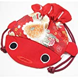 Japanese Kimono Fabric Cosmetic Goldfish Small Purse Kinchaku - Red Fish Bag