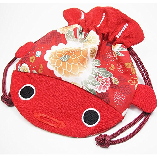 Japanese Kimono Fabric Cosmetic Goldfish Small Purse Kinchaku - Red Fish (Kimono Bag Purse)