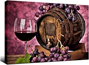 Biuteawal Wine Wall Art for Kitchen Purple Fruit Grape Red Wine Pictures Print on Canvas Food Painting Artwork Stretched and Framed Ready to Hang for Home Dining Room Art Wall Decor