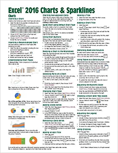 Microsoft Excel 2016 Charts Sparklines Quick Reference Guide
