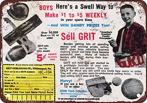 (DOPN 1964 Sell Grit Newspapers and Make Money Vintage Look Reproduction Metal Tin Sign 8x12 inches)