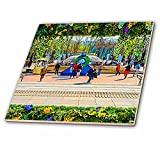 3dRose Alexis Photo-Art - Moscow City 2 - Artistic Moscow - Floral frame as the city decoration for Easter - 4 Inch Ceramic Tile (ct_272398_1)