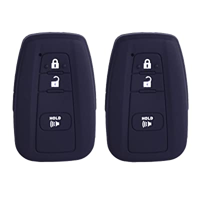 2Pcs XUHANG Sillicone key fob Skin key Cover Remote Case Protector Shell for 2016 2020 Toyota Prius 2020 2020 C-HR Smart Remote black: Automotive