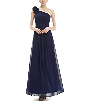 Ever Pretty One Shoulder Floral Padded Holiday Celebrity Prom Summer Long Evening Dresses,Navy Blue