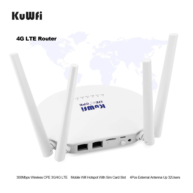 Router 4G SIM, Router 4G CPE Desbloqueado a 300 Mbps con Ranura para Tarjeta SIM y Potente Antena no Desmontable de 4 Piezas WiFi Hotspot Cat4 150 ...