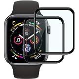 【2枚セット】Lyoo Apple watch series 4 44mm ガラスフィルム 3D全面保護フィルム Apple watch series 4 44mm 保護フィルム用強化ガラスフィルム 【硬度9H/2.5Dラウンドエッジ/透過率99.9%/気泡防止/撥油性 超耐久/指紋防止】