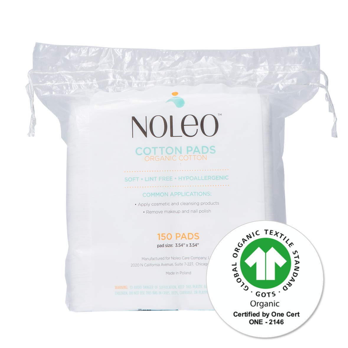 NOLEO Pure Organic Cotton Pads for Face - Lint Free Large Biodegradable Hypoallergenic Makeup Remover Pads for Sensitive Skin (150 Count) - Beauty Personal Care Diaper Change Dry Wipes