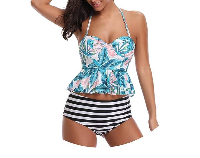 20e43a991af77 Amazon.com  2018 Sexy Swimwear Women Push up Swimsuit High Waisted Floral  Two Piece Tankini Beachwear