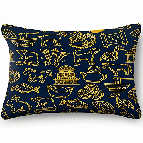 X-Large Zippered Pillow Covers Pillowcases Chinese Lunar Zodiac Animals Holiday Celebration Animal Religion Pillow Cases Cushion Cover for Home Sofa Bedding Bed Car Seats Decor 20 X 30 Inch