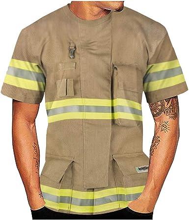 Disfraz de bomberos para hombre, camiseta de manga corta ...