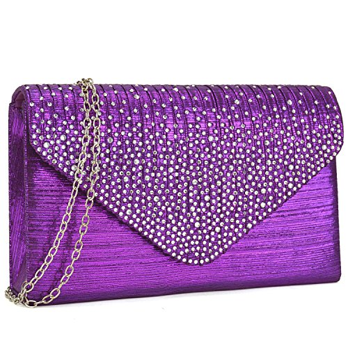 (Dasein Ladies Frosted Satin Evening Clutch Purse Bag Crossbody Handbags Party Prom Wedding Envelope (Purple))