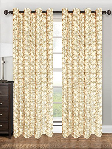 "Kashi Home Emma Collection Window Treatment / Curtain / Panel 55""x 84"" Textured Geometric Design in Gold - Single Panel, Grommet Top Hanging Panel"