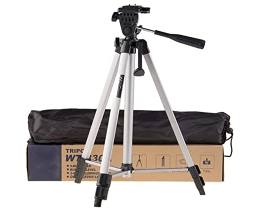 Unifree WF 330A Professional Lightweight Aluminum Portable Tripod Stand 3 Way Head for Digital Camera Supports Up to 3000 g Silver and Black,330  Comp