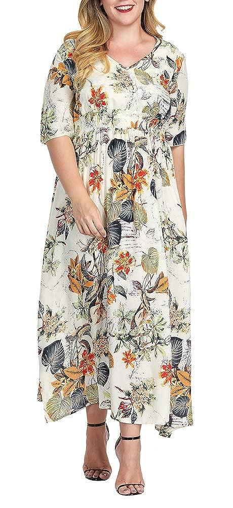 LISUEYNE Women Plus Size Western Style V Neck Mid Waist ...
