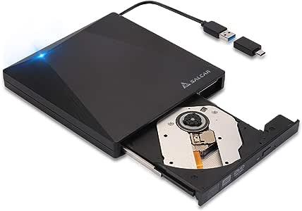 Salcar Grabadora Lector CD/DVD Externa USB 3.0 Y Tipo-C Portátil para Desktop/PC Compatible con Apple MacBook, Pro, Air, iMac, Windows 10 7/8 / Vista/XP/Mac OS/Macbook/Desktop Linux, Negro: Amazon.es: Electrónica