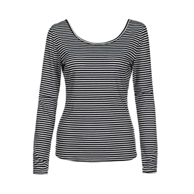 6b2b03a229e5 Longra Chemisiers Femme Fille Chic Rayé Col rond Manches longues Dos nu Top Femme  Tee shirt
