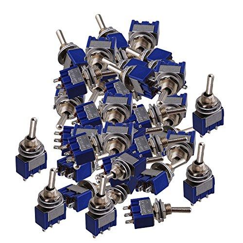 Mxfans 20 x Blue 2 Way AC 125V 6A Single Pole SPDT On/On 2 Position Toggle Switch