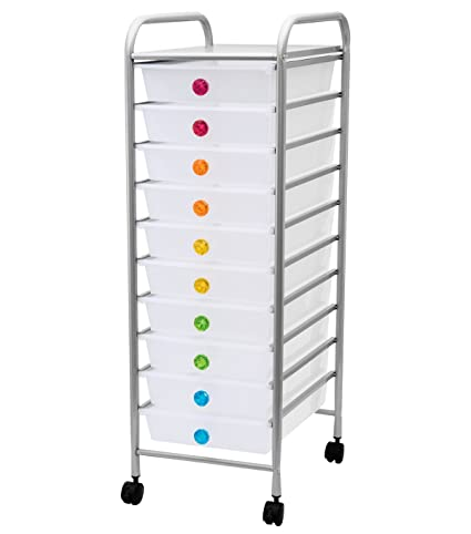 Storage Studios Jeweled 10 Drawer Rolling Organizer Cart, Multi (CH93495)