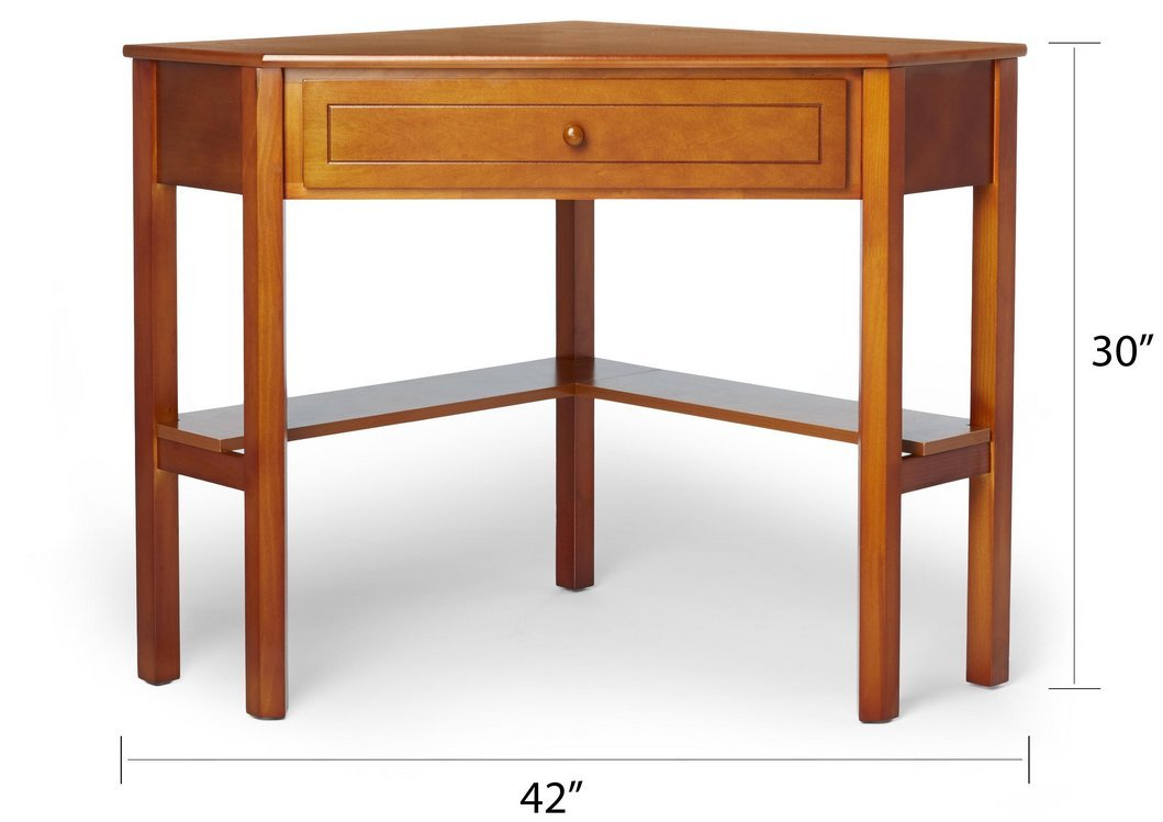 This classically styled desk utilizes a small space for a big impact, with stylish under-desk shelving and a drawer to hide clutter. Simple Living Wood Corner Computer Desk (Cherry)