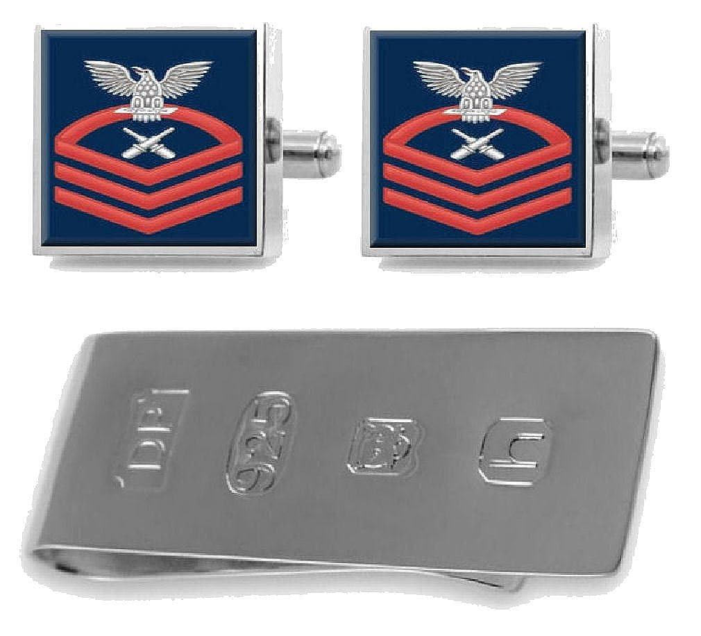 (セレクトギフト) Select Gifts スターリングシルバーカフスボタン マネークリップ 米国海軍チーフレッド E-7 Gunner's Mate GM   B07D7HL7ZX