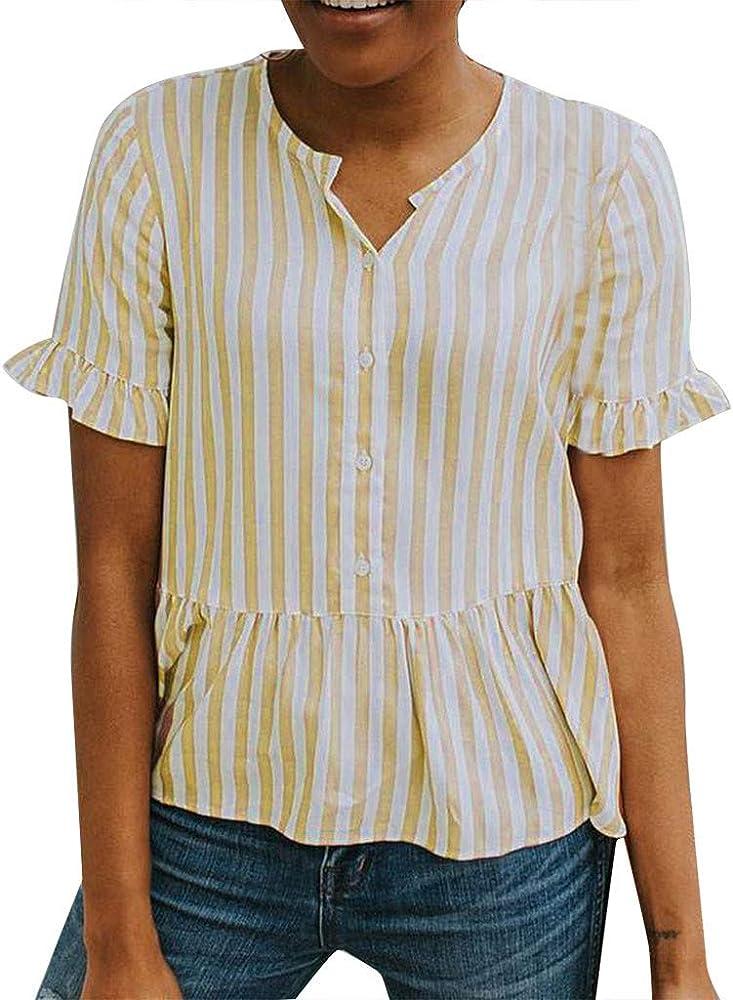 wyxhkj Mujer Camiseta Manga Corta Camisa Manga Corta Llamarada Botones Impresión Rayas Volantes Dobladillo Camiseta Verano Camisa Blusa Informal Casual Camisetas Mujer (S, Amalillo): Amazon.es: Ropa y accesorios