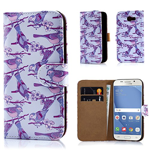 Samsung A517 Protector Case Cover (32nd Floral Design Leather Wallet Case for Samsung Galaxy A5 (2017), Designer Flower Pattern Wallet Style Case Cover With Card Slots - Iris Birds)