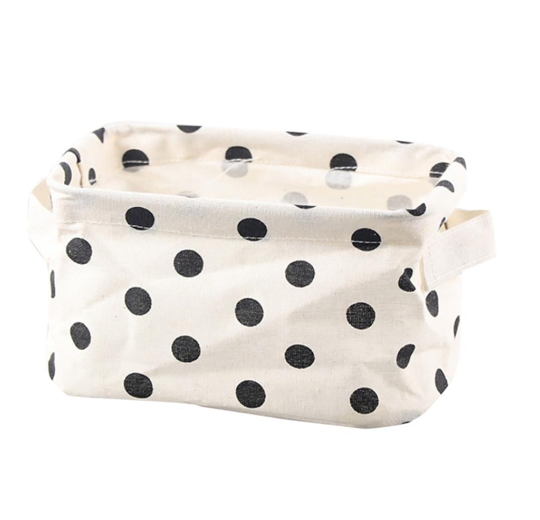 Storage Box ,IEason Clearance Sale! Cotton Linen Desktop Storage Basket Sundries Storage Box with Handle (D)